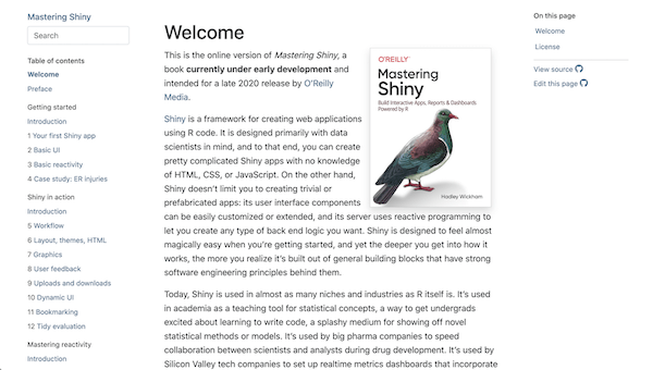 Home page for a bs4_book() showing the layout with a table of contents on the left, main chapter content in the center, and an 'on this page' sidebar on the right.
