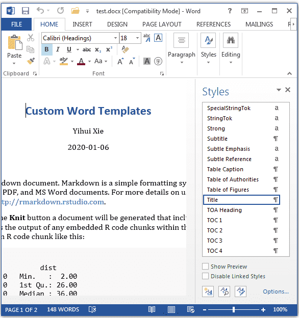 Cookbook Template For Word from bookdown.org