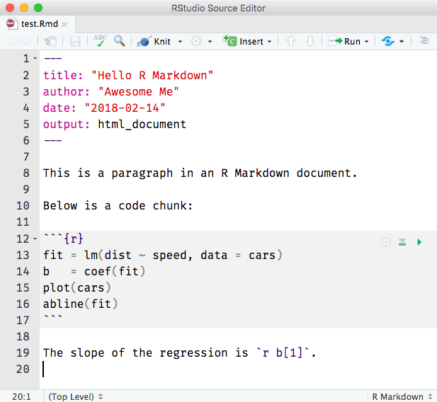 R Markdown document in RStudio^[Figure from https://bookdown.org/yihui/rmarkdown/images/hello-rmd.png].