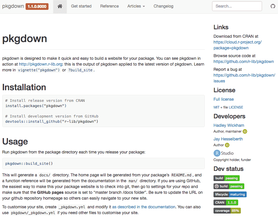 Chapter 11 HTML Documentation for R Packages | R Markdown